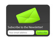 Subcribe to newsletter website element with green envelope