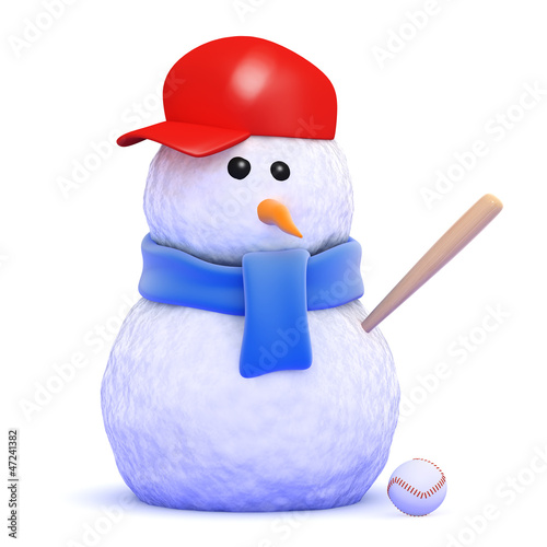 Snowman plays baseball in the snow