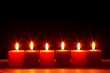 Six square candles burning bright