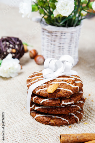 Cookies with festive ribbon