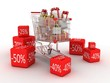 Shopping trolley and gifts, 3D