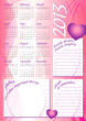 2013 wave calendar girl style with photo and text frames