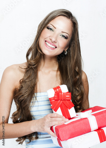 chritmas woman with christmas gifts  , christmas shopping