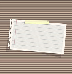 Note paper on texture background. Vector design.