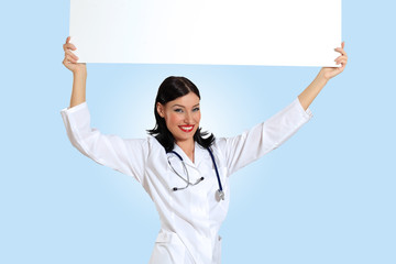 Young female doctor with a banner