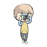 Boy with camera. Vector illustration.