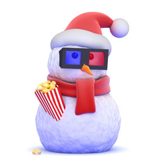 Snowman loves watching 3d movies