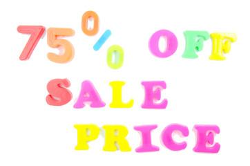 75% off sale price written in fridge magnets