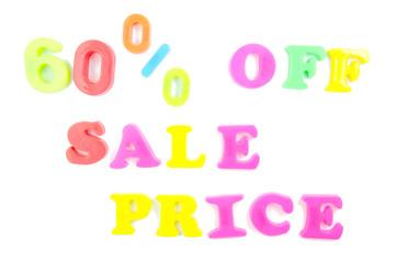 60% off sale price written in fridge magnets