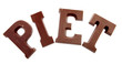 "The word ""PIET"" in chocolate letters isolated on white backgroun"