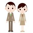 スーツを着た若い夫婦
