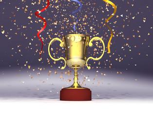 Trofeo y confeti