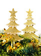 gold decorated Christmas trees and holiday object