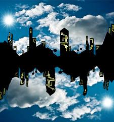 città riflessa allo specchio