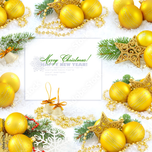 Frame with christmas compositions is with gold balls