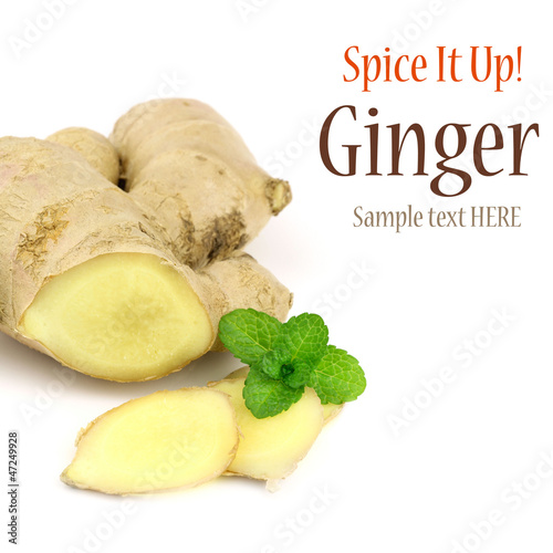 Sliced fresh ginger root with a mint sprig
