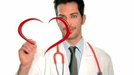 male doctor drawing heart