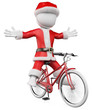 3D white people. Santa Claus on bike