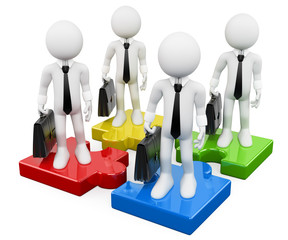 3D white business people. Business teamwork on puzzle pieces