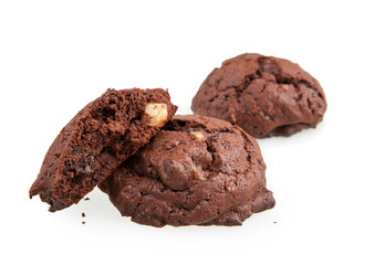chocolate cookies with macadamia nuts isolated on white