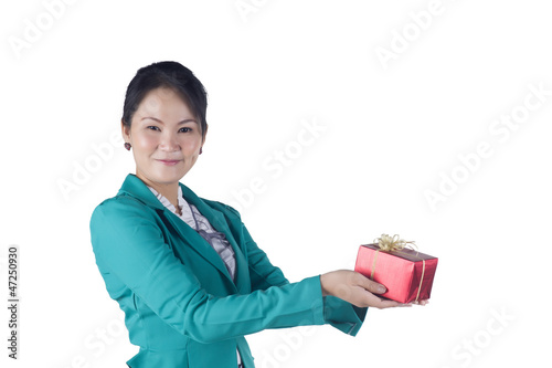 Portrait of beautiful Asian woman holding a gift box
