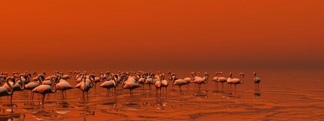 Flock of flamingos - 3D render