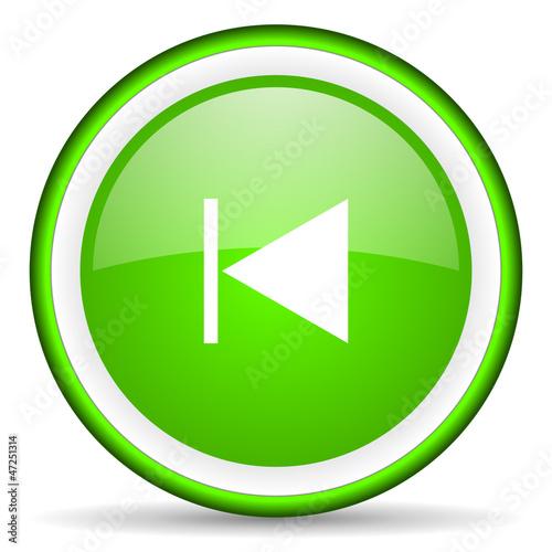 prev green glossy icon on white background