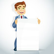 cute businessman show big poster for presentation