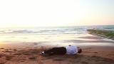 Acrobatie sur la plage