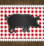 blackboard menu tablecloth lace pig