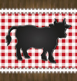 blackboard menu tablecloth lace cow bull