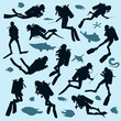 Set of diver silhouettes