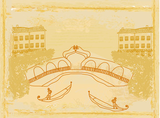 Venetian gondola. retro style card. vector illustration.
