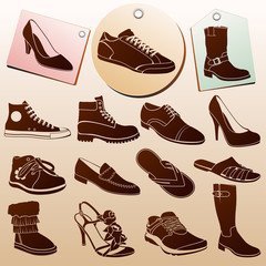 Different Shoes Icons with Labels