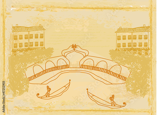 Venetian gondola. retro style card. vector illustration.