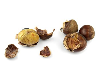 Roasted chestnuts with opened shells