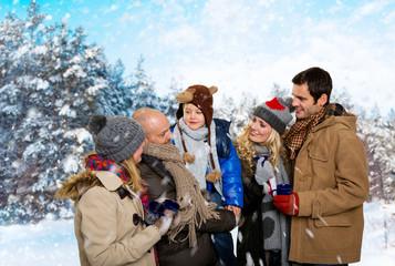 gruppe im winter