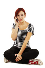 Frustrated Woman on Phone On White Background