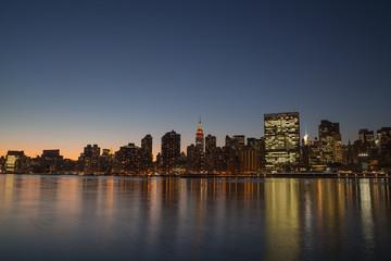 Midtown Manhattan skyline, at Thanksgiving night.