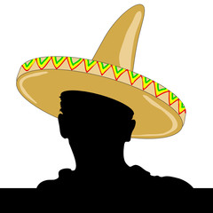mexican man silhouette with sombrero