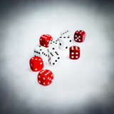 white red dice
