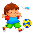 little boy playing with his ball