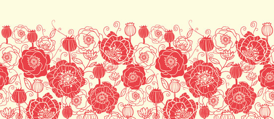Vector red poppy flowers horizontal seamless pattern ornament