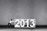 Businesswoman effort in 2013 for new year poster