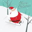 Funny vintage merry christmas sledging Santa Claus postcard