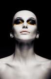 Bald futuristic woman - clean shaven head. Fashion design
