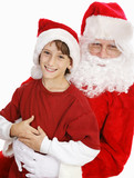 Adorable Little Boy on Santas Lap