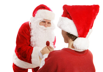 Santa Gives Lollipop to Boy