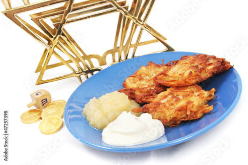 Latkes Menorah Dreidel and Gelt for Hanukkah