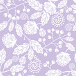 Vector purple line art flowers elegant seamless pattern